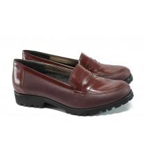 Равни дамски обувки - естествена кожа-лак - бордо - EO-9909