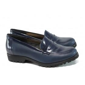 Равни дамски обувки - естествена кожа-лак - сини - EO-9910