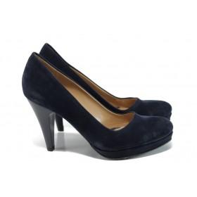 Дамски обувки на висок ток - висококачествен еко-велур - тъмносин - EO-9914