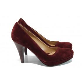 Дамски обувки на висок ток - висококачествен еко-велур - бордо - EO-9915