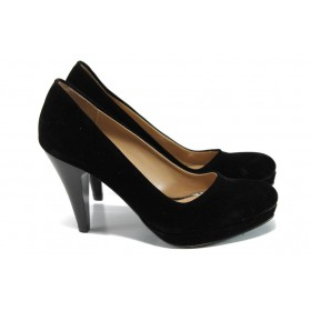Дамски обувки на висок ток - висококачествен еко-велур - черни - EO-9916