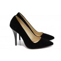 Дамски обувки на висок ток - висококачествен еко-велур - черни - EO-9917