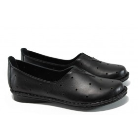 Равни дамски обувки - естествена кожа - черни - EO-9937