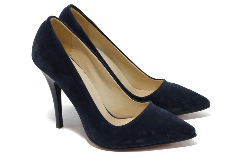 Дамски обувки на висок ток - висококачествен еко-велур - сини - EO-9931