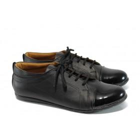 Равни дамски обувки - естествена кожа с естествен лак - черни - EO-9932