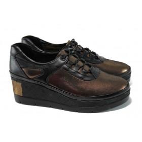 Дамски обувки на платформа - естествена кожа - кафяви - EO-9946