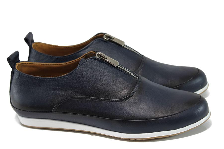Равни дамски обувки - естествена кожа - сини - EO-9948