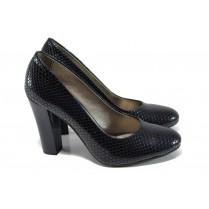 Дамски обувки на висок ток - еко кожа-лак - тъмносин - EO-9949
