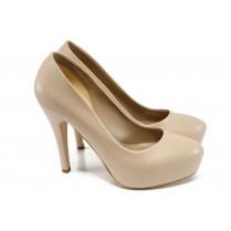 Дамски обувки на висок ток - висококачествена еко-кожа - бежови - EO-9952