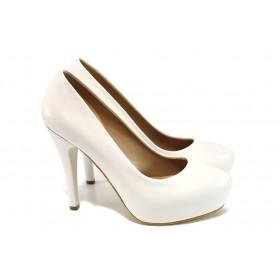 Дамски обувки на висок ток - висококачествена еко-кожа - бели - EO-9953