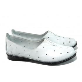 Равни дамски обувки - естествена кожа - бели - EO-9938