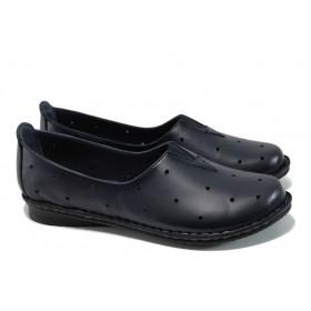 Равни дамски обувки - естествена кожа - тъмносин - EO-9939