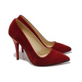 Дамски обувки на висок ток - висококачествен еко-велур - червени - EO-9942