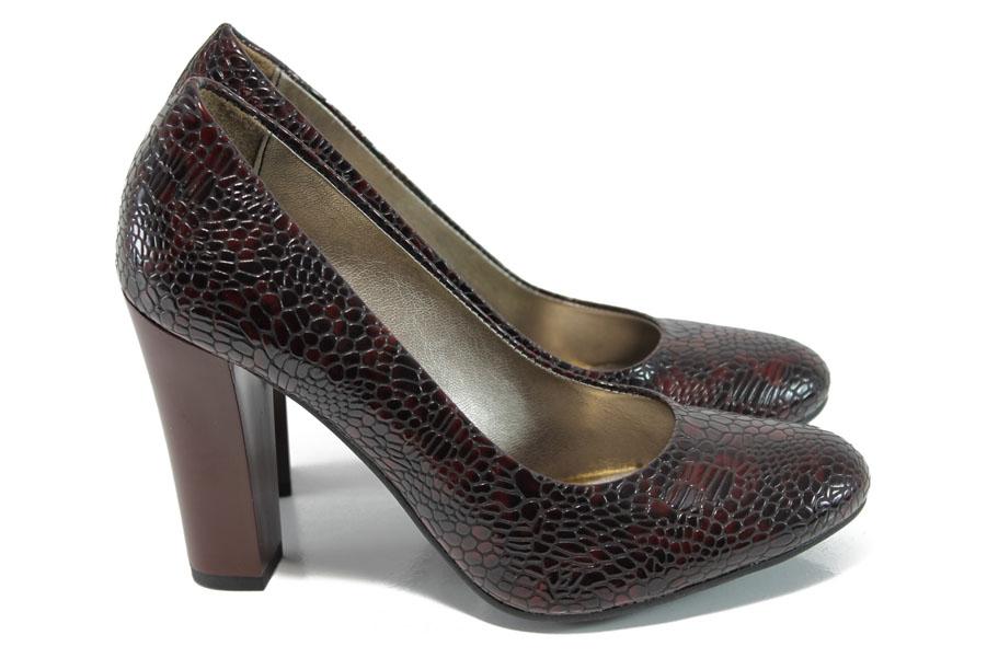 Дамски обувки на висок ток - еко кожа-лак - бордо - EO-9950