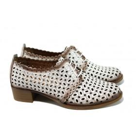 Дамски обувки на среден ток - естествена кожа с перфорация - бели - EO-9954