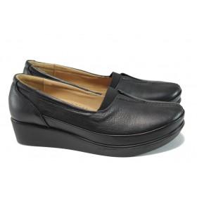 Дамски обувки на платформа - естествена кожа - черни - EO-9943