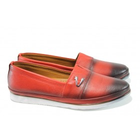 Равни дамски обувки - естествена кожа - червени - EO-10006