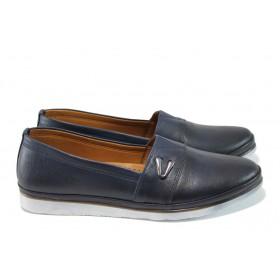 Равни дамски обувки - естествена кожа - тъмносин - EO-10008