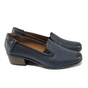 Дамски обувки на среден ток - естествена кожа - тъмносин - EO-10012