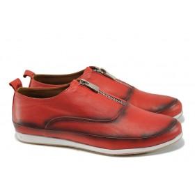 Равни дамски обувки - естествена кожа - червени - EO-10031