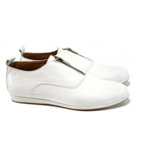 Равни дамски обувки - естествена кожа - бял - EO-10032
