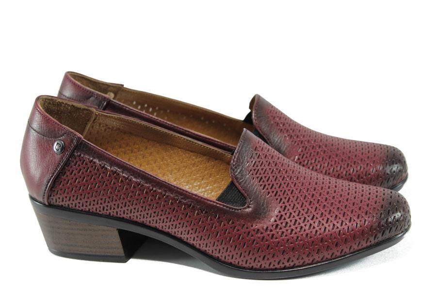 Дамски обувки на среден ток - естествена кожа - бордо - EO-10013
