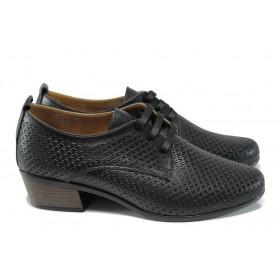 Дамски обувки на среден ток - естествена кожа - черни - EO-10037