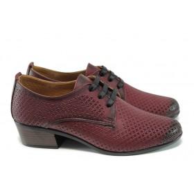Дамски обувки на среден ток - естествена кожа - бордо - EO-10038