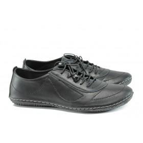 Равни дамски обувки - естествена кожа - черни - EO-10111