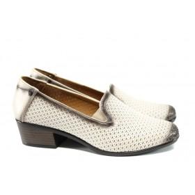 Дамски обувки на среден ток - естествена кожа - бежови - EO-10113