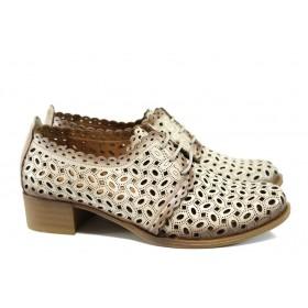 Дамски обувки на среден ток - естествена кожа - бежови - EO-10114