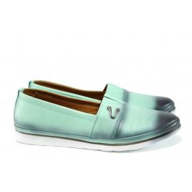 Равни дамски обувки - естествена кожа - зелени - EO-10115