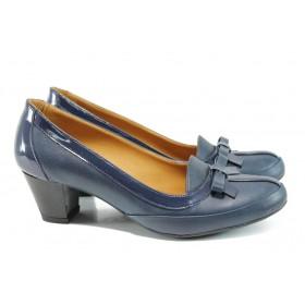 Дамски обувки на среден ток - естествена кожа с естествен лак - сини - EO-10202
