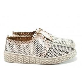 Равни дамски обувки - естествена кожа - бежови - EO-10205