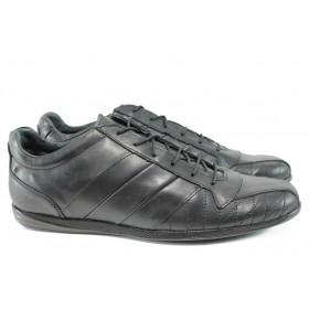 Спортни мъжки обувки - естествена кожа - черни - EO-10206