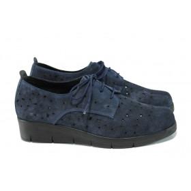 Равни дамски обувки - естествен набук - тъмносин - EO-10391