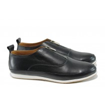 Равни дамски обувки - естествена кожа - черни - EO-10434