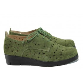 Равни дамски обувки - естествен набук - зелени - EO-10472