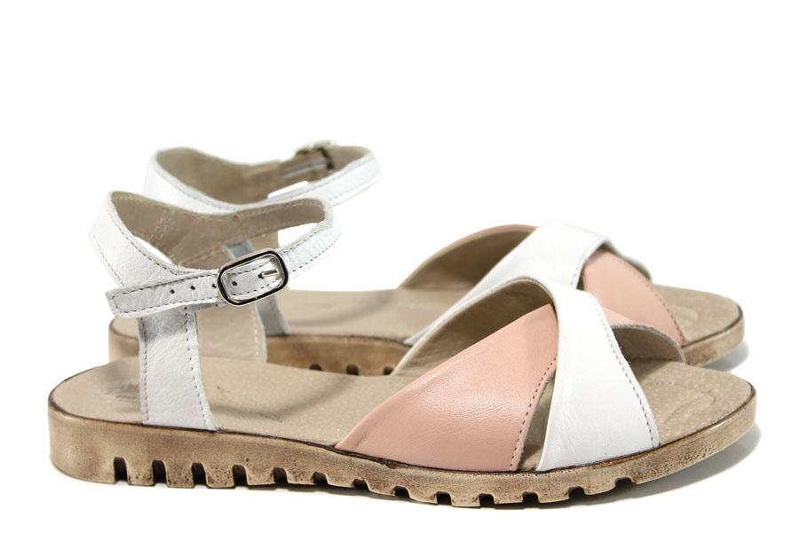 Дамски сандали - естествена кожа - бели - EO-10533