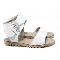 Дамски сандали - естествена кожа - бели - EO-10538