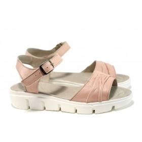 Дамски сандали - естествена кожа - розови - EO-10536