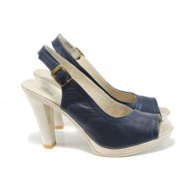 Дамски сандали - естествена кожа - тъмносин - EO-10535
