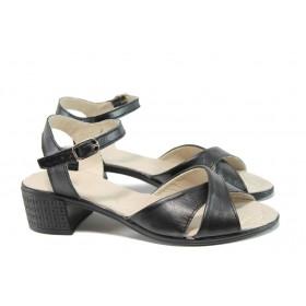 Дамски сандали - естествена кожа - черни - EO-10534