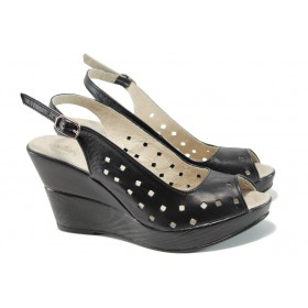 Дамски сандали - естествена кожа - черни - EO-10537