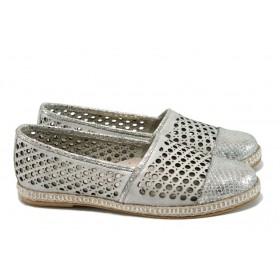 Равни дамски обувки - естествена кожа - сребро - EO-10542