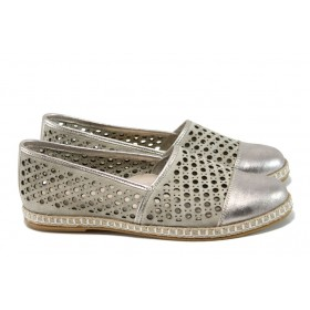 Равни дамски обувки - естествена кожа - жълти - EO-10543