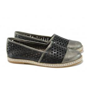 Равни дамски обувки - естествена кожа - черни - EO-10544