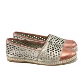 Равни дамски обувки - естествена кожа - розови - EO-10545