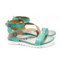 Дамски сандали - естествена кожа - зелени - EO-10546