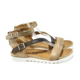 Дамски сандали - естествена кожа - бежови - EO-10547